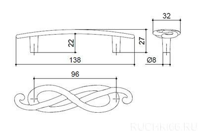 Ручка-скоба 96 мм (левая)
